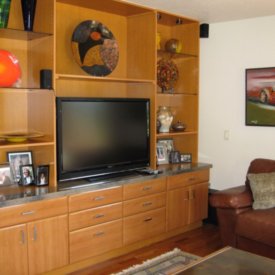 Contemporary family room display cabinet