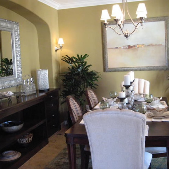 Dining rooms come alive with mirrors and artwork that blends with the furnishings
