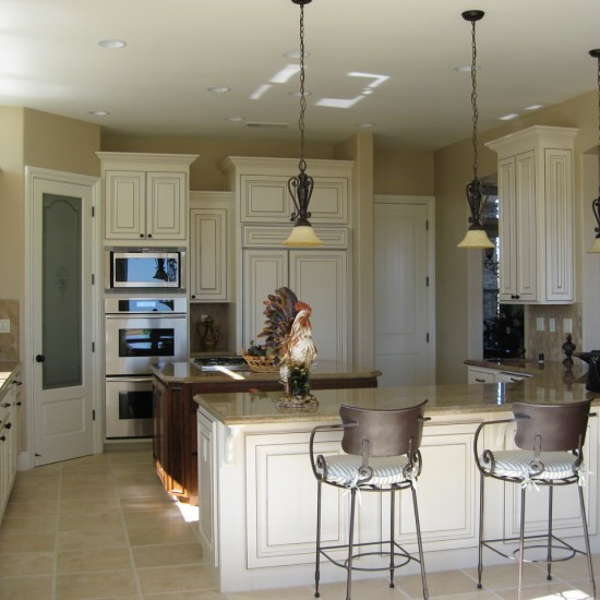Pendant lighting adds interest to a kitchen