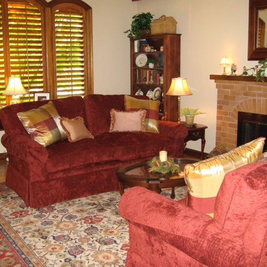 Red can be used effectively with a pattern rug