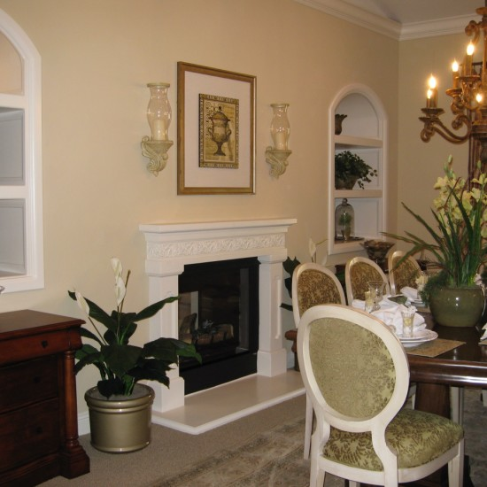 Soft wall colors are relaxing in a dining room